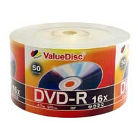 ValueDisc DVD-R 16x 4.7GB/120 Minute Disc 50-Pack