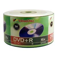ValueDisc DVD+R 16x 4.7GB/120 Minute Disc 50-Pack