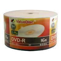 ValueDisc White Inkjet Hub Printable DVD-R 16x 4.7GB/120 Minute Disc 50-Pack