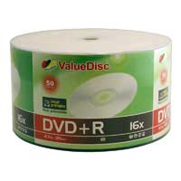 ValueDisc White Inkjet Hub Printable DVD+R 16x 4.7GB/120 Minute Disc 50-Pack