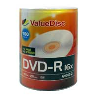 ValueDisc White Inkjet Hub Printable DVD-R 16x 4.7GB/120 Minute Disc 100-Pack