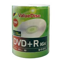 ValueDisc White Inkjet Hub Printable DVD+R 16x 4.7GB/120 Minute Disc 100-Pack
