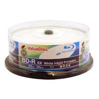 ValueDisc White Inkjet Printable BD-R  6X  25 Pack