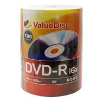 ValueDisc DVD-R 16x 4.7GB/120 Minute Disc 100-Pack
