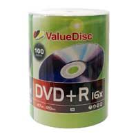ValueDisc DVD+R 16x 4.7GB/120 Minute Disc 100-Pack