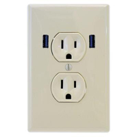 Fast Mac U-Socket USB Outlet - Almond