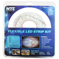 NTE Electronics 16.4FT FT LED STRIP KIT AMBER  IP65 300 (3528) LEDS 12V 24W  INCLUDES LED STRIP/POWER SUPPLY/CONNECTORS