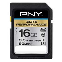 PNY Elite Performance 16GB Class 10 Secure Digital High Capacity / Ultra High Speed-I (SDHC / UHS-I) Flash Media Card P-SDH16U1H-GE