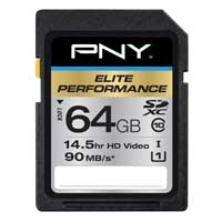 PNY Elite Performance 64GB Class 10 Secure Digital Extended Capacity / Ultra High Speed-I (SDXC / UHS-I) Flash Media Card P-SDX64U1H-GE
