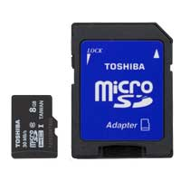 Toshiba 8GB Class 10 Micro Secure Digital High Capacity / Ultra High Speed-I (microSDHC / UHS-I) Flash Media Card PFM008U-1DCK