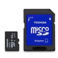 Toshiba 64GB Class 10 Micro Secure Digital Extended Capacity / Ultra High Speed-I (microSDXC / UHS-I) Flash Media Card with Adapter    PFM064U-1DCK