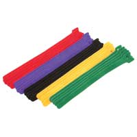 "Eclipse Enterprise 8"" Long 15 Piece Hook and Loop Cable Ties - Assorted Colors"