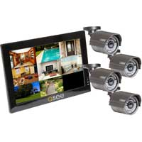 "Q-See 8 Channel Network DVR with 4 x Day/Night Vision High Resolution Cameras with 10"" LCD Monitor"