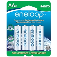 Eneloop AA NiMH 2000mAh Pre-Charged Rechargeable Batteries 8 Pack