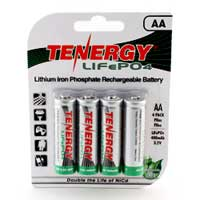 TenErgy LiFePO AA Rechargeable Lithium Batteries for Solar Lights 4 Pack