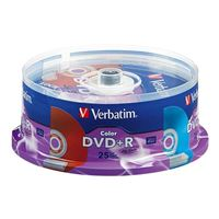 Verbatim Life DVD+R 16x 4.7GB/120 Minute Disc 25 Pack Color Spindle