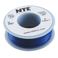 NTE Electronics 25' Hook Up Wire Stranded Type - Blue
