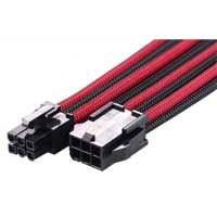 MaxFinder Triple Braided 6-Pin PCI-E VGA Extension Cable - Black/Blood Red