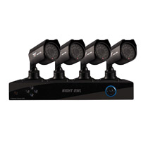 Night Owl S4-4245-NHD 4 Channel DVR and 4 x 6mm CMOS Indoor/Outdoor Security Cameras with 50ft Night Vision