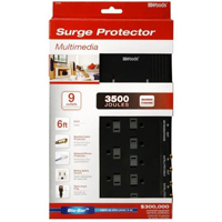 Coleman 9 Outlet 3500 Joules Surge Protector with 6 Foot Cord - Black