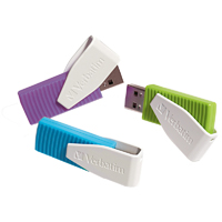 Verbatim Store 'n' Go 4GB USB 2.0 Flash Drives - 3pk - Blue/Green/Violet