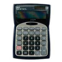 Sentry Industries Mini Desktop Calculator with Clock - Silver