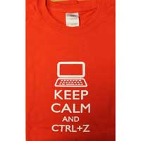 "Ulla Ltd. Designs T-shirt ""Keep Calm & CRTL Z"" Large - Red"
