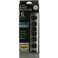 GE 6 Outlet Surge Protector 300 Joules with 4 Foot Cord - Decor Brushed Nickel