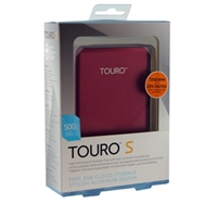 HGST Touro S 500GB 7,200 RPM USB 3.0 - 3GB of Cloud Storage Ultra-Portable External Hard Drive - Ruby