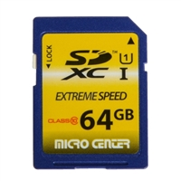 Micro Center 64GB SDXC Class 10 / UHS-1 Flash Memory Card