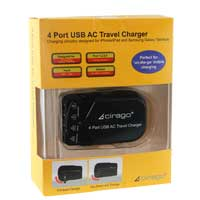 Cirago 4 Port USB AC Travel Charger