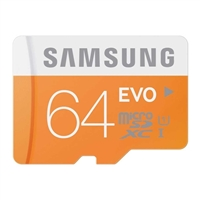 Samsung Micro 64GB Secure Digital Class 10 EVO Memory Card With Adapter