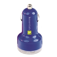 iEssentials Dual USB Car Charger - Blue