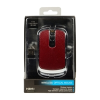 SCA57RD Leather Skin Wireless Optical Mouse - Red