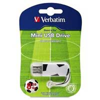 Verbatim Store n Go Sports Edition Black 8GB USB 2.0 Flash Drive Soccer Ball, Password protection software available for download