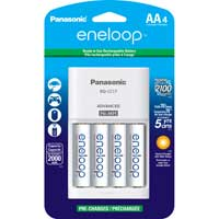 Eneloop 4 Hour 4 Position AA/AAA Charger Includes 4 x AA NIMH 2000mAh Pre-Charged Rechargeable Batteries
