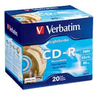 Verbatim CD-R 52x 700MB/80 Minute Disc 20-Pack with Jewel Case
