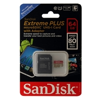 SanDisk 64GB Extreme Plus microSDXC Class 10 / UHS-1 Flash Memory Card with Adapter