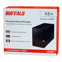 BUFFALO LinkStation 220 2TB 2 x 1TB NAS Cloud Storage and Media Server