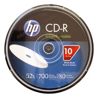 HP CD-R 52X 80min 700MB Inkjet Printable 10 Pack
