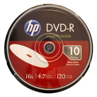 HP DVD-R 16x 4.7GB White Inkjet Printable 10 Pack Spindle (Cakebox)