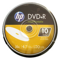 HP DVD+R 16x 4.7GB White Inkjet Printable 10 Pack Spindle (Cakebox)