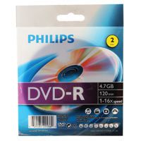 Philips DVD-R 16x 4.7GB/120 Minute Disc 2-Pack