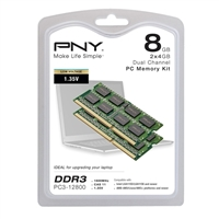 PNY 8GB 2 X 4GB DDR3 1600 PC3-12800 CAS 11 Laptop Memory Modules