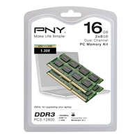 PNY 16GB (2x8GB) DDR3 1600 CAS 11 Low Voltage (1.35V) Laptop Memory Kit