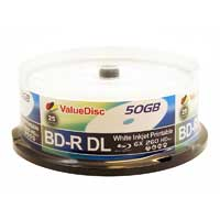 ValueDisc BD-R Dual Layer 6x 50GB White Inkjet Printable 25 Pack Spindle