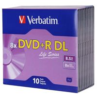 Verbatim DVD+R DL 8.5GB 8X Life Series with Branded Surface - 10pk Slim Case