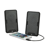 Cyber Acoustics Portable Battery Operated Speaker System w/ Magnetic Clamp Travel Design