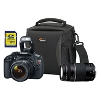 Canon EOS Rebel T5 18.0 Megapixel Digital SLR Camera Kit with 18-55 IS STM Lens and EF 75-300mm III Lens - Black
