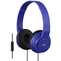 JVC Powerful Bass Lightweight On Ear Headphones w/ Mic - Blue